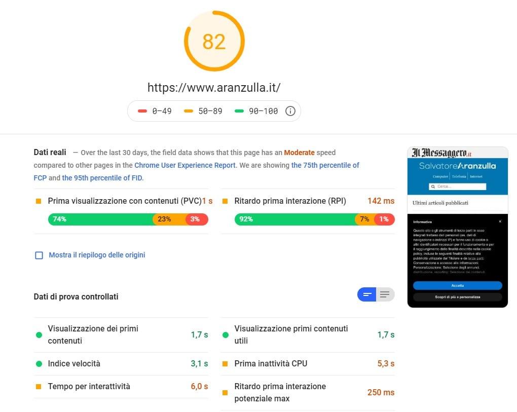 Posizionamento su Google: PageSpeed