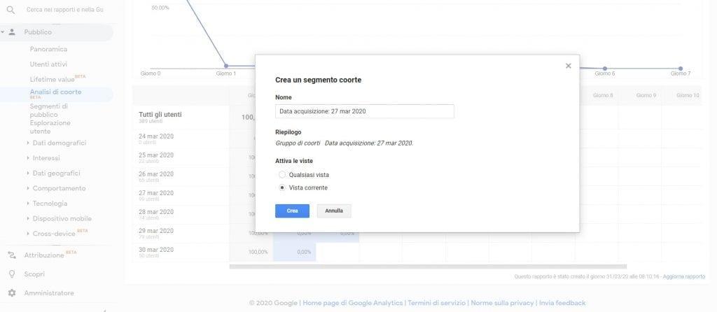 Google Analytics Crea Segmento Coorte