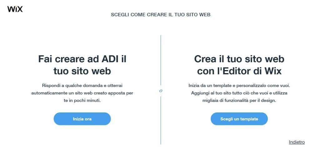 Wix creazione sito