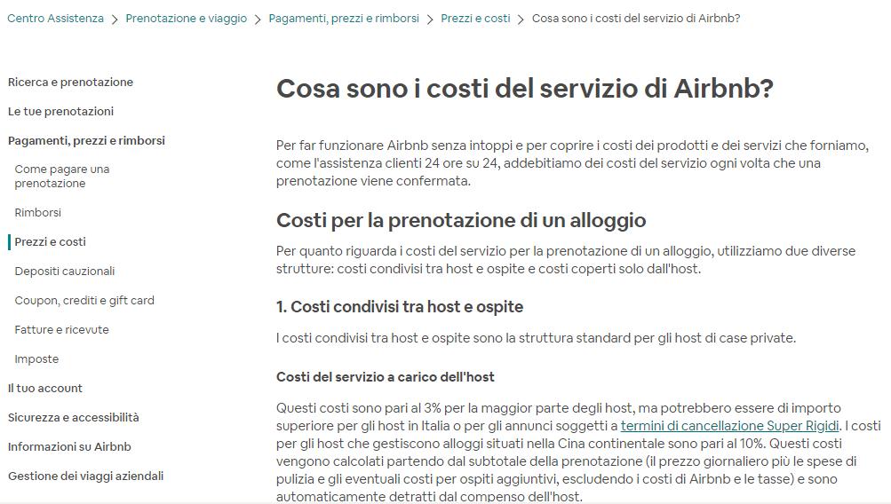 airbnb commissioni