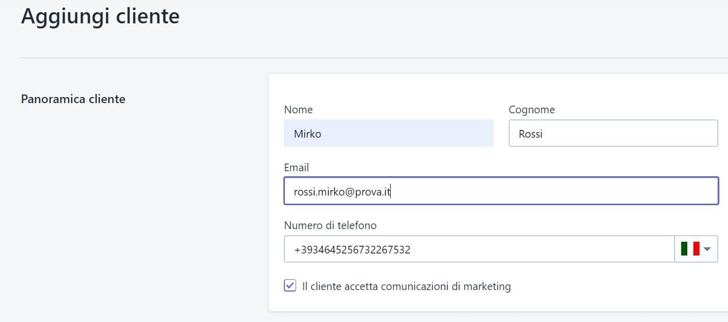 gestione clienti shopify