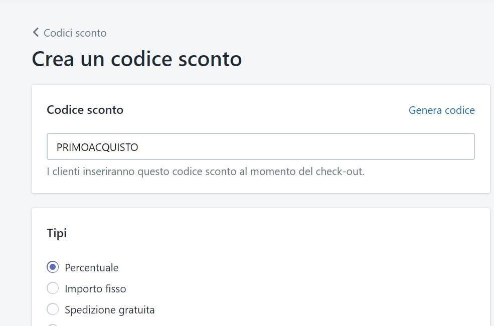 codice sconto shopify