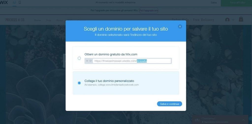 wix scegli un dominio