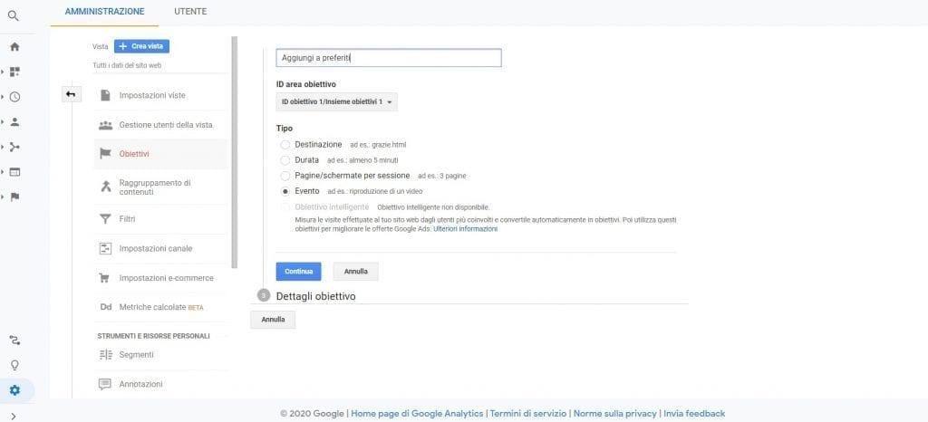 Google Analytics Aggiungi ai preferiti