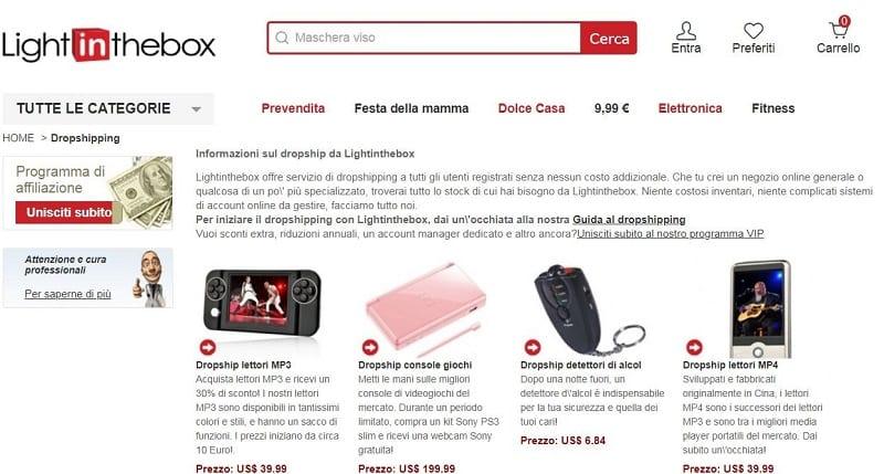 Lightinthebox offre il suo servizio di dropshipping a tutti gli utenti registrati e senza nessun costo addizionale