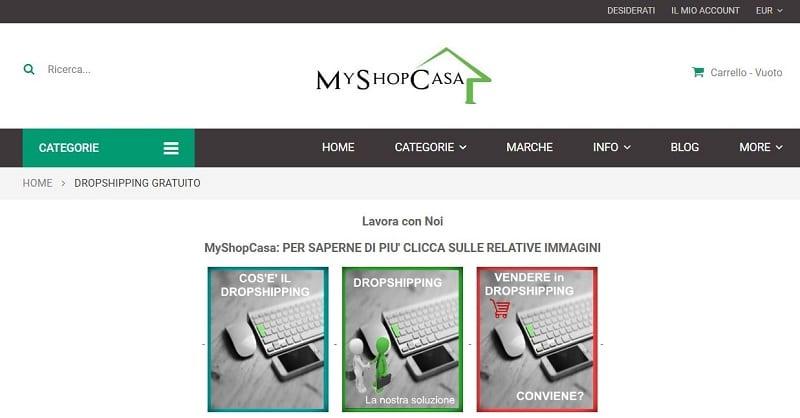 My Shop Casa si propone come soluzione ideale per tutticoloro che intendano rivendere in dropshipping nel settore degli articoli per la casa