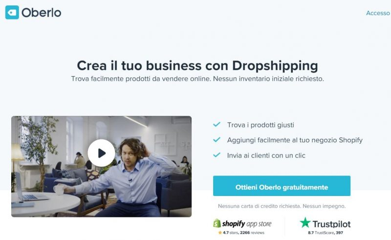Oberlo è un'estensione per Shopify che presneta tre pacchetti, di cui uno totalmente gratuito
