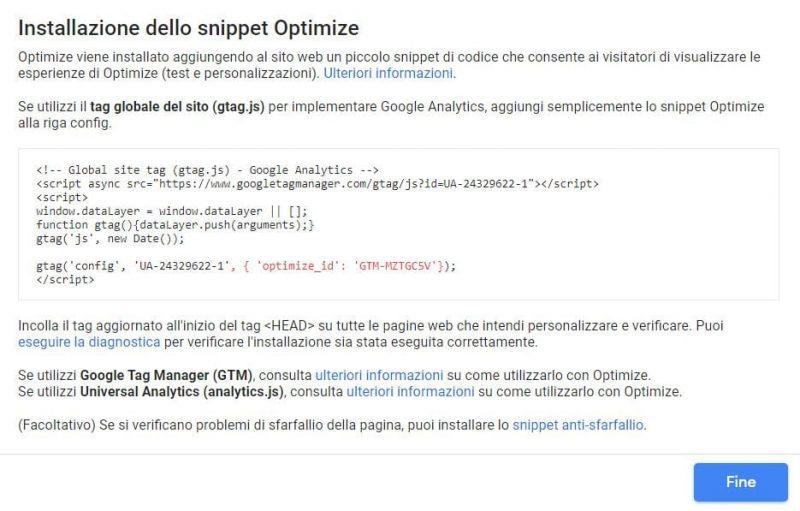 Lo snippet di Google Optimize