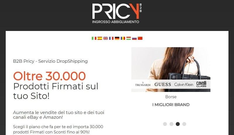 La proposta di dropshipping di Pricy prevede oltre 30mila prodotti di abbigliamento per uomo, donna e bambino firmati da 350 brand