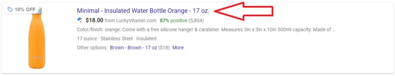Google Shopping Titolo