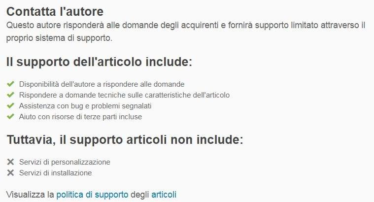 Il supporto viene fornito non da Themeforest, bensì dagli sviluppatori del tema