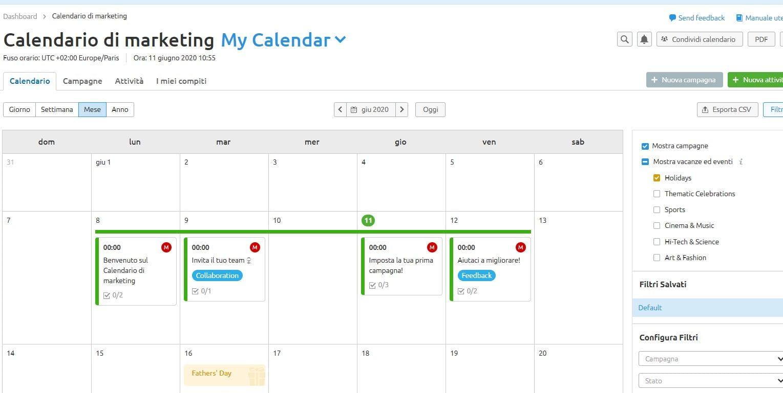 Calendario marketing semrush