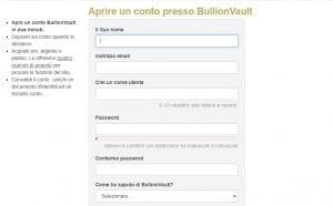 Come aprire un conto con Bullionvault