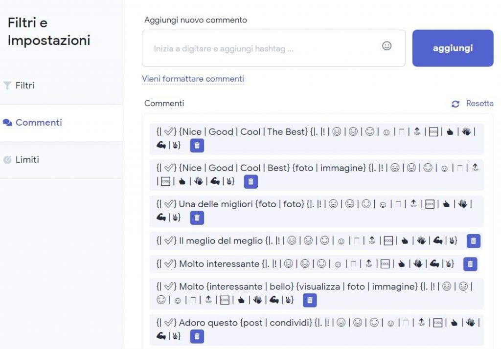 La sezione dei commenti contiene dei template i quali devono essere inviati in automatico