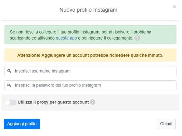 Il primo passo è rappresentato dal collegamento con il proprio profilo di Instagram
