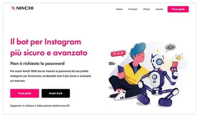 Ninchi è in grado di funzionare senza che venga richiesta la password dell'account Instagram
