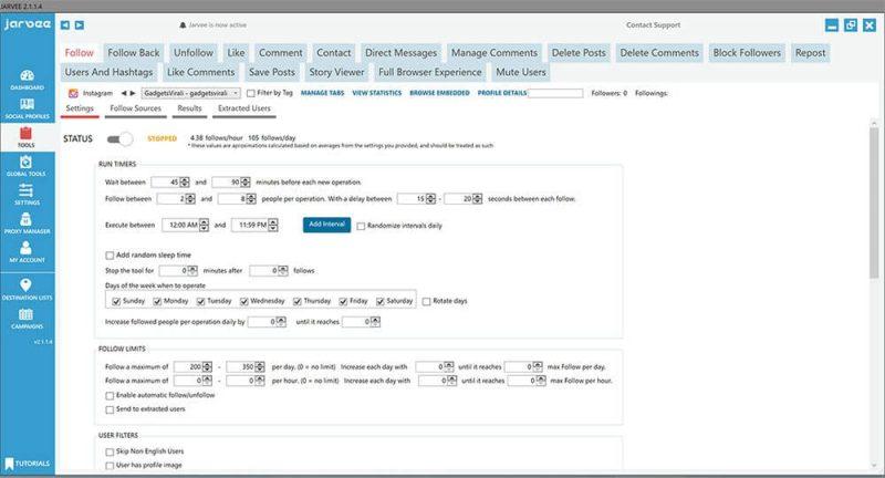 Le funzionalità proposte da Jarvee sono quelle che caratterizzano i bot più performanti