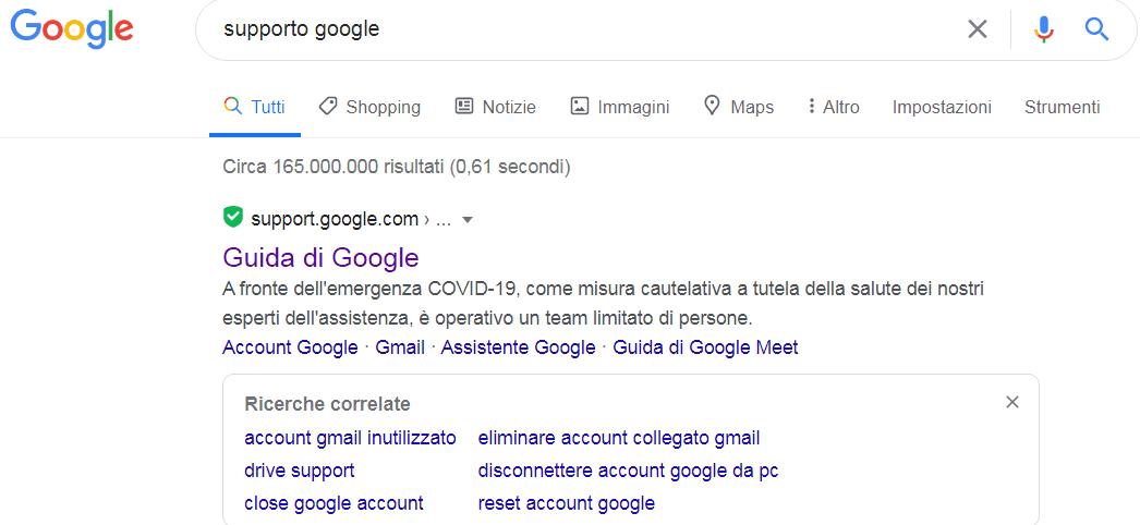 eliminare contenuti su google