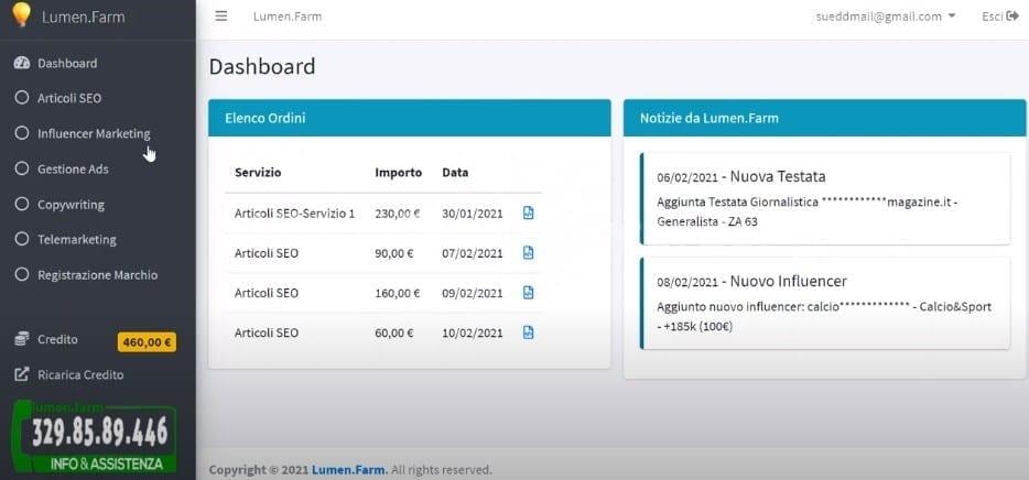 1 schermata Lumen.Farm telemarketing
