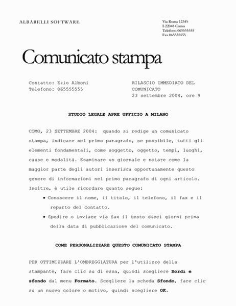esempio 1 inviare comunicati stampa