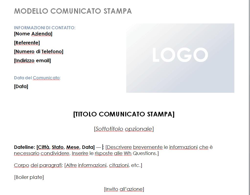 esempio 2 inviare comunicati stampa