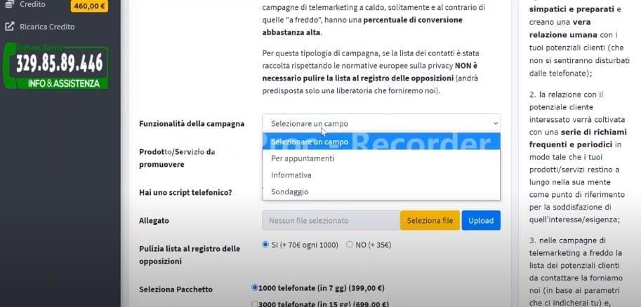 5 schermata Lumen.Farm telemarketing