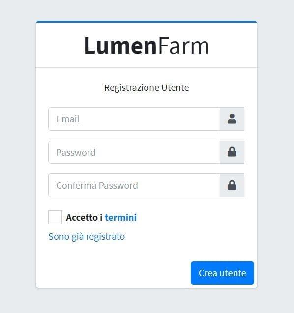 La registrazione a LumenFarm è estremamente semplice e rapida