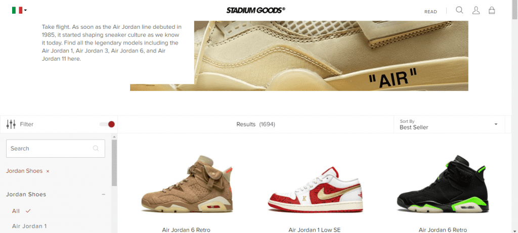stadium goods reselling sneakers