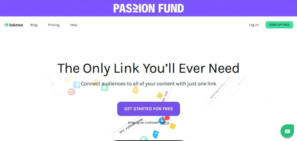 Linktree home page